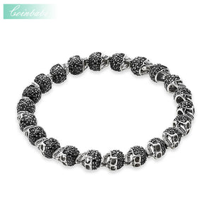 Thomas Black Zirconia Paved Skulls Bead Bracelet, Elastic Heart Bracelet,Ts 925 Sterling Silver Rebel Punk Jewelry for Men