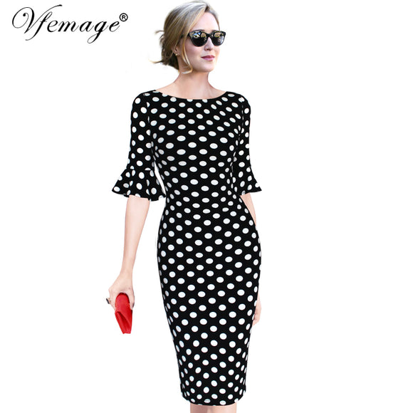f5ad696dde2 Vfemage Women Elegant Flare Trumpet Bell Sleeve Polka Dot Print Vintage  Pinup Casual Work Office Party