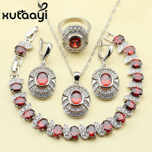Red Garnet White Zircon Princess Wedding Jewelry Set 925 Sterling Silver Women Earrings Ring Necklace Pendant Bracelet