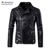 New Men Motorcycle Jacket Outwear Zipper Black Male Soft PU Leather Biker Coat High QualityM-5XL
