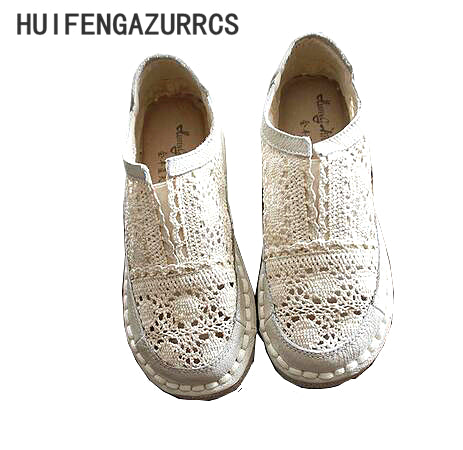 Genuine leather shoes,pure handmade lazy shoes,lace hook Ladies flower