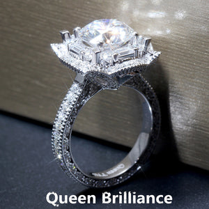 Queen Brilliance 3Carat ctw F color Lab Grown Moissanite Diamond Engagement Wedding Ring Genuine 14K 585 White Gold For Women