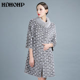 HDHOHP 2017 Women Real Mink fur Coat Long Women's Winter Warm Kintted