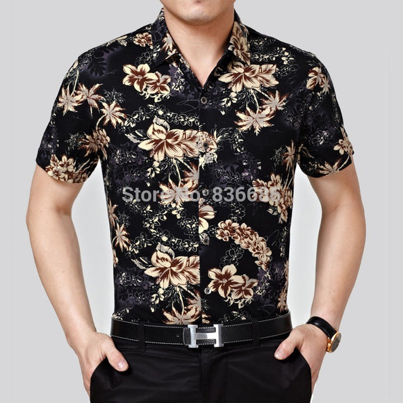 High quality summer mens hawaiian shirt fashion floral printing male short sleeve cotton
