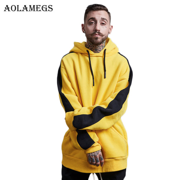 Aolamegs Hoodies Men Side Striped Thick Hood High Street Pullover Cotton Fashion