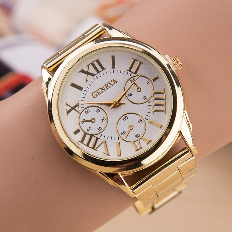 76e650e124b Relogio Feminino 2017 New Brand Quartz Watch Women Fashion 3 Eyes Gold Geneva  Watches Casual Stainless ...