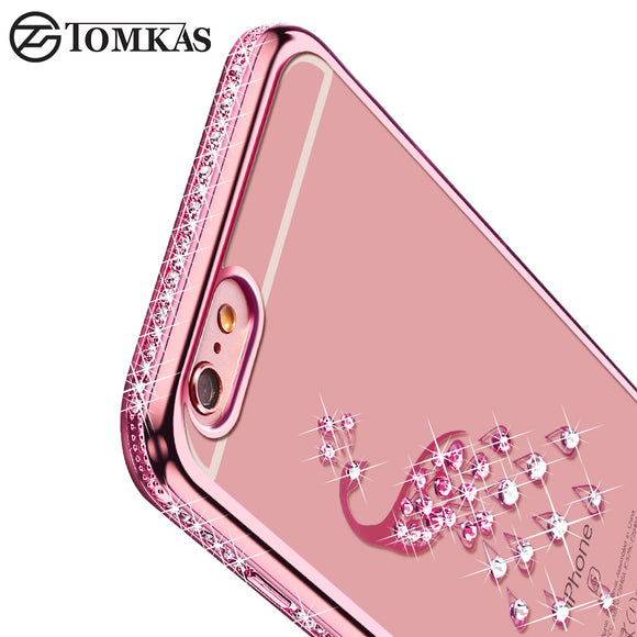 TOMKAS Silicone Case For iPhone 6 6S Coque Luxury Soft TPU Bling Silicon Back Cover For iPhone 6 Plus 6S Plus Phone Cases