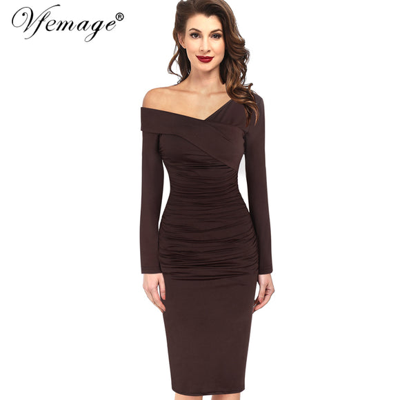 1c33331de2 Women Autumn Winter Elegant Vintage Sexy Off Shoulder V-neck Ruched Draped  Work Party Cocktail