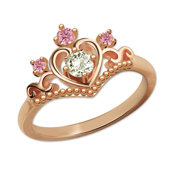 Romantic Birthstone Princess Tiara Ring Rose Gold Color Customized Crown Ring for Her