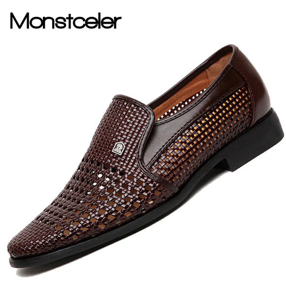 MONSTCELER Summer Men's Formal Loafers Leather Sandals Shoe Male Cutout Breathable