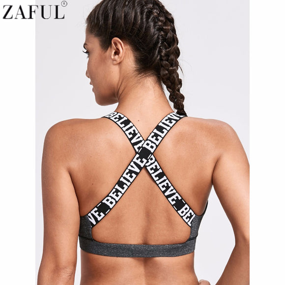ZAFUL Women Fitness Yoga Sports Bra For Running Gym Padded Wire free Underwear Push Up Letter Padded Yoga Bra Athletic Bras