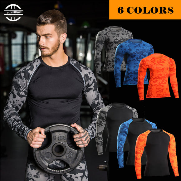 Yuerlian Compression Fitness Tight Rugby Jersey Gym Costume Demix Sport Suit Shirt Bodybuilding Men'S Long Shirts Men Sport Suit
