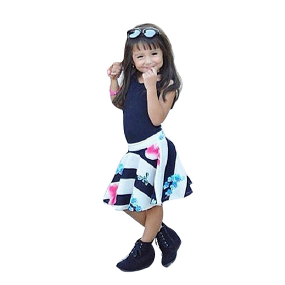 MUQGEW Kids Summer Clothes Children Toddler Kids Girl T shirt Tops Vest + Floral Skirt