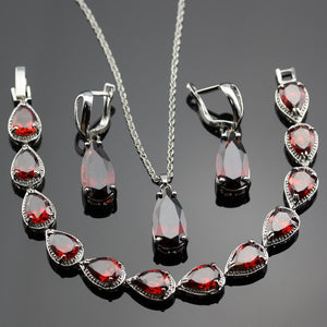 Lan Classic Choker Water Drop Shaped Jewelry Sets Red Garnet  AAA Zircon For Necklace