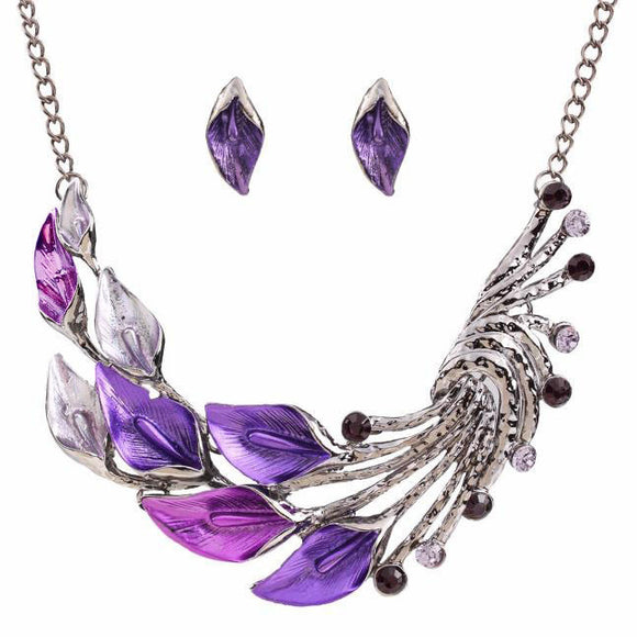 Elegant Women's Purple Peacock Enamel Festoon Bib Necklace Stud Earrings Set