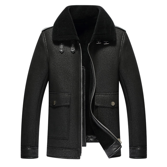 Winter Fashion Mens Leather Jacket Men's Faux  Fur Leather Jacket And Coats Casual Coat