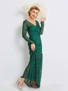 Dark Green Lace Women's Maxi Dress