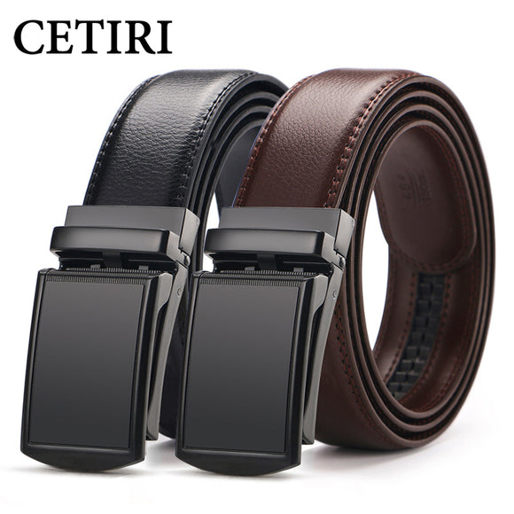 CETIRI men's ratchet click belt genuine leather dress belt for men jeans holeless automatic
