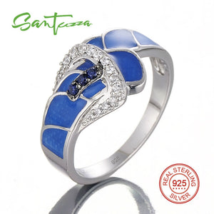 Silver Ring for Women Blue Created-Sapphires CZ Stone Blue HANDMADE Enamel Belt Ring Pure 925 Sterling Silver Fashion Jewelry