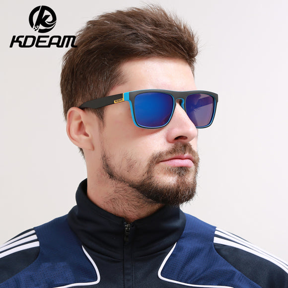 KDEAM Good quality Polarized Sunglasses Men Square Summer Sun Glasses Polaroid lens