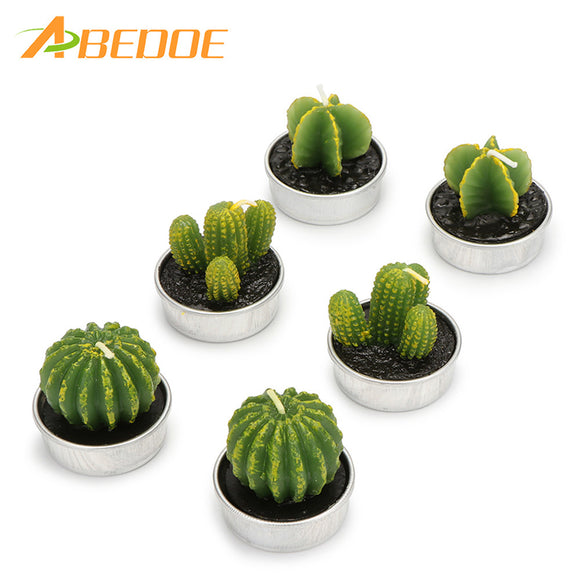 6PCS/Set Home Decor Rare Cactus Candle Table Tea Light Home Garden Simulation Plant