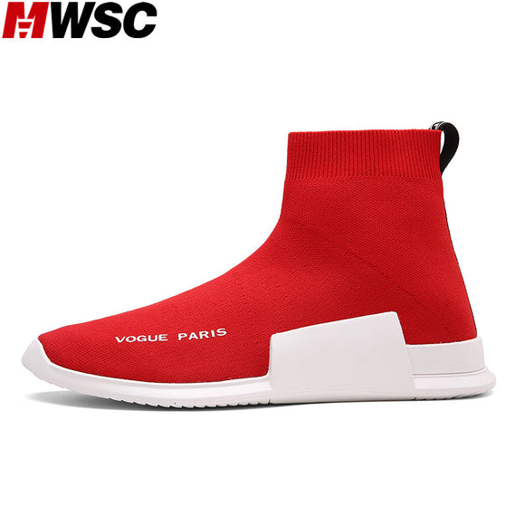 MWSC Autumn Winter Sneakers Mens Fashion Slip On Shoes High Top Male Casual Fly