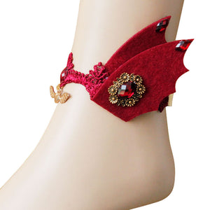 Halloween Devil Wings Palace Retro Anklet Red