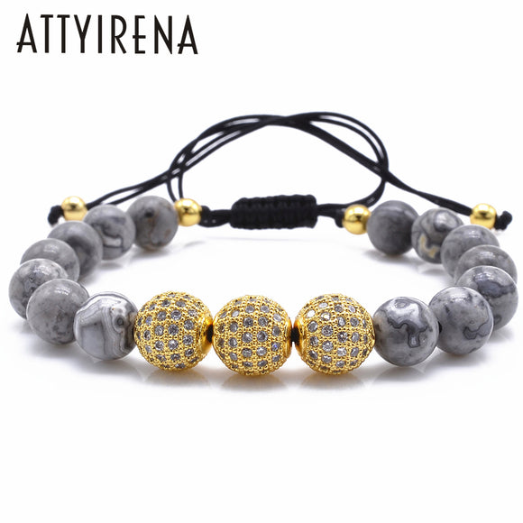 Natural Gray Map Stone Bracelet Pave CZ Charms Bracelet For Men Jewelry Natural Stone