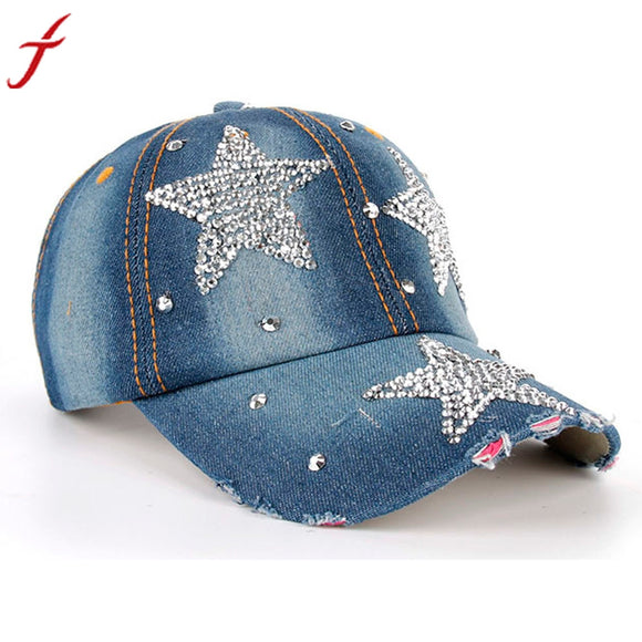 Denim Snapback Caps Hot Sale Women Men Stars Rhinestone Baseball Cap Snapback