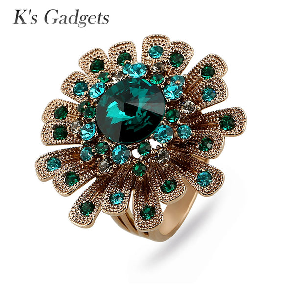 K's Gadgets Luxury Green/Blue Austrian Crystal Rings For Women Titanium Gold Big