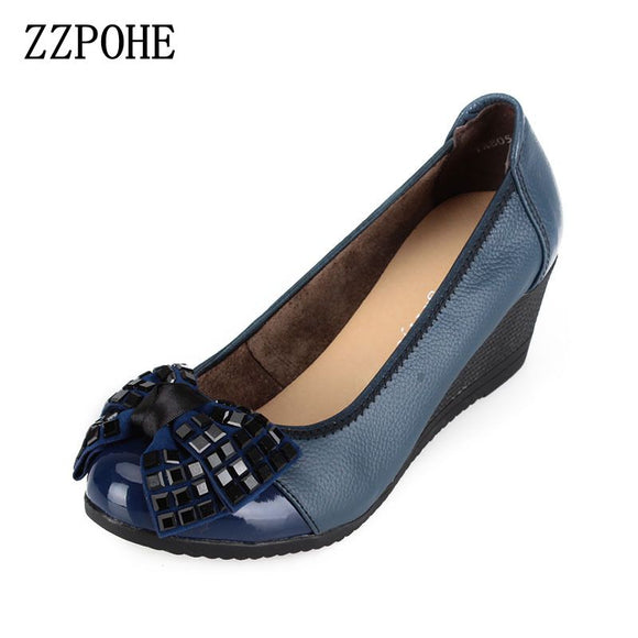 ZZPOHE 2017 autumn new women fashion high heels woman genuine leather wedge