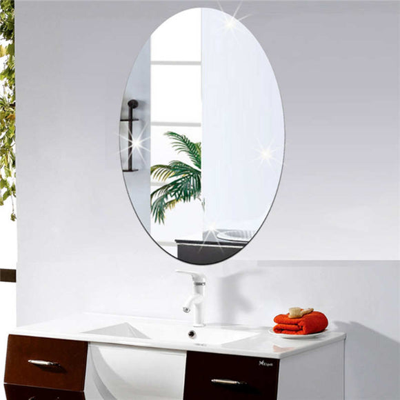 42x27cm Oval Removable Decorative Mirror Sticker Acrylic 3D Crystal Wall Mirror Sticker