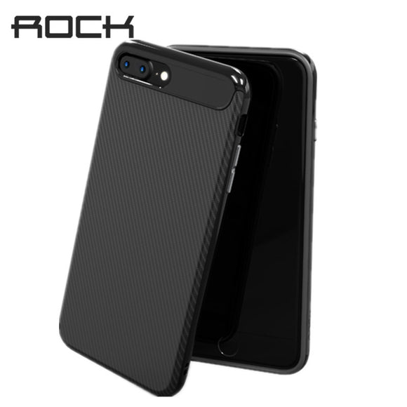 Rock Slim Case For iPhone 8 8 Plus Carbon Fiber Phone Bag Shell  Anti-Knock Texture Silicone Cover for iphone8  Case