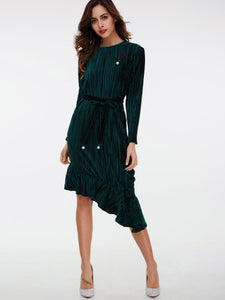 Lace up Asym Women's Long Sleeve Dress