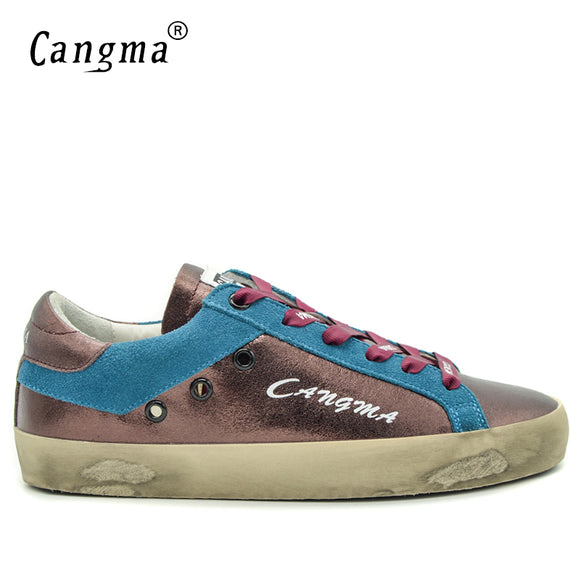 CANGMA Italy Brand Sneakers Men Casual Shoes Autumn Wine Patent Leather Footwear