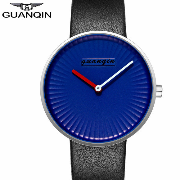 GUANQIN Clock Men Simple Blue Mens Watch Black Leather Strap Quartz Watch Waterproof Creative Wristwatch Mens Best Gifts 2017