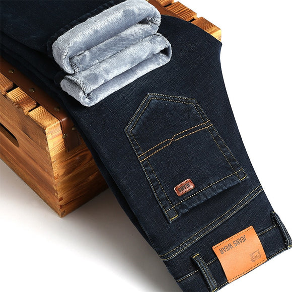 Winter Jeans Men Warm Jeans Fleece Velvet 2017 Solid Men's Classic Jeans Blue Europe America Business Casual Pants 38 40