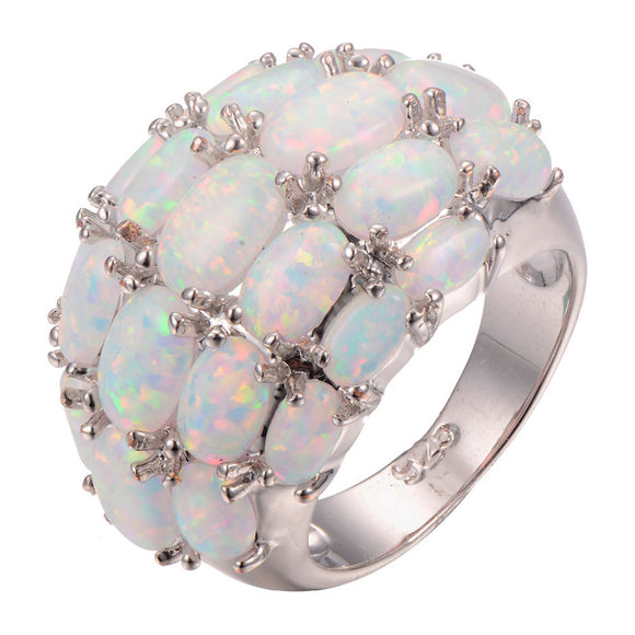 wholesale White Fire Opal 925 sterling silver Ring Fashion Ring Size 6 7 8 9 10 11 F1265