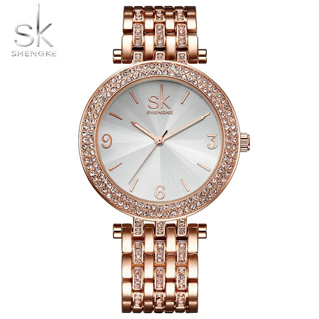 Shengke Luxury Women Watch Brands Crystal Sliver Dial Fashion Design B