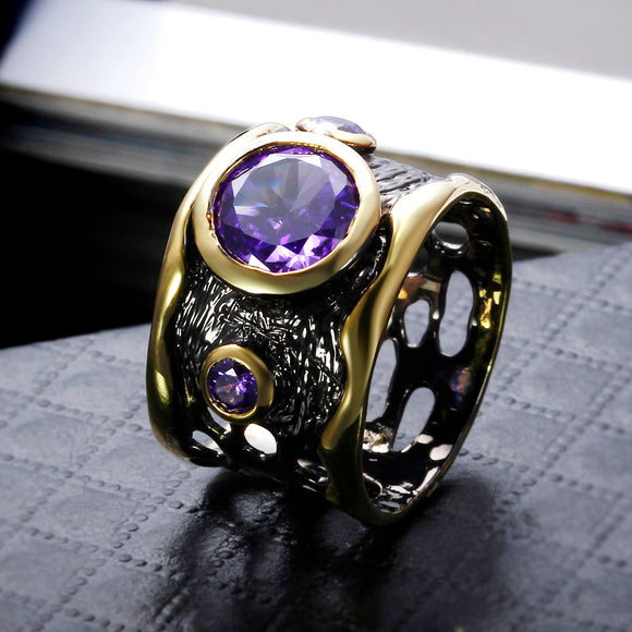 New Big Round Purple stone CZ Crystal rings Black & gold-color Thick look Hollow