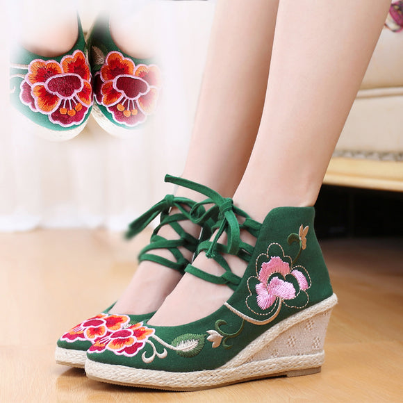 Charming Fashion New Casual Chinese Style Women's Embroidery Soft Sole Old Peking