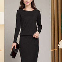 2018 new spring and autumn female round neck floor-length cashmere sweater  one-piece dress