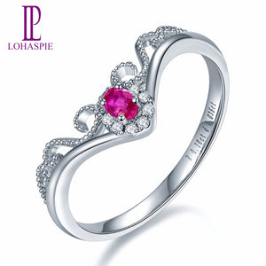 Lohaspie Solid 18K White Crown Engagement Rings Gold Natural Gemstone Ruby Fine