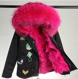 MAO MAO KONG woman army green Real Fox fur lining coat With Fur Hood Embroidery