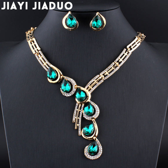 jiayijiaduo Wedding jewelry set for women Gold color Necklace earrings set parure bijoux