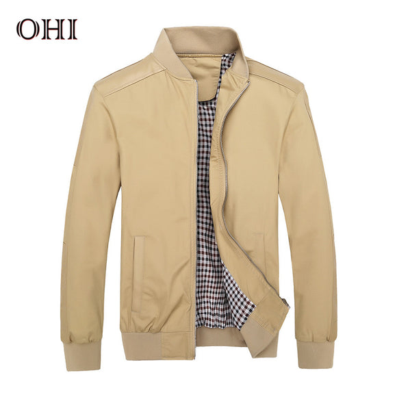 OHI Autumn Men 2017  New Brand Clothes J08 Winter Regular Polyester Khaki Male Plain Bomber Jacket PU Jackets Black