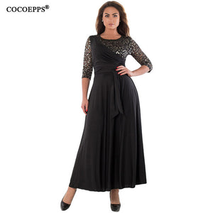 5XL 6XL 2018 New Women Long Dress Maxi Autumn Winter Big Sizes Lace Patchwork