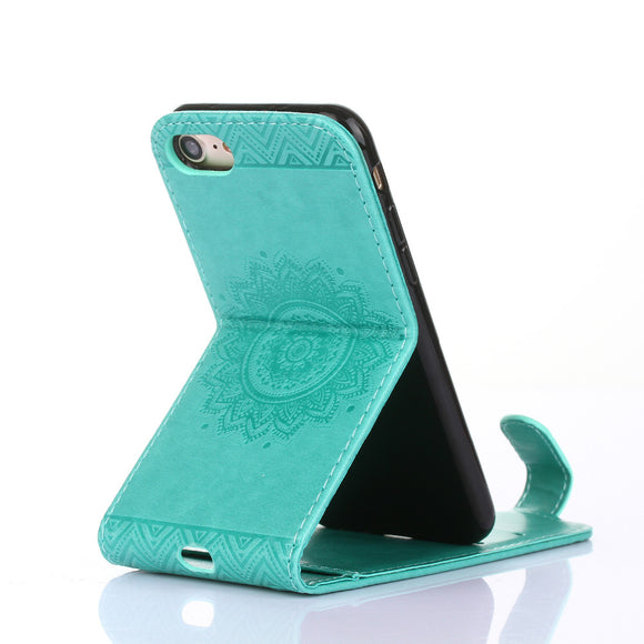 Vertical Kickstand Flip Cases for iPhone 8 Case Leather Emboss Flower Cover for iPhone 8 4.5'' Case Flip Wallet Coque