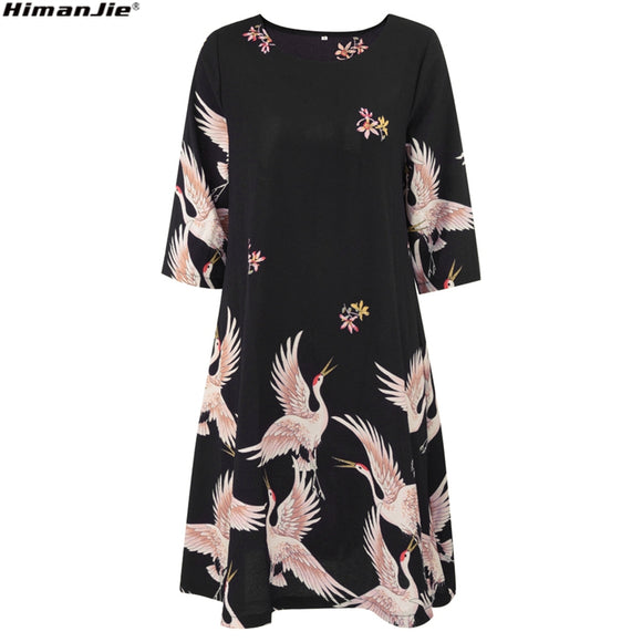 Fashion Cartoon chinese Style Red-crowned Crane print black Dress Short Sleeve Women
