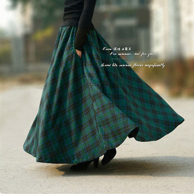 Brand High Quality 2018 Autumn Winter Women Skirt A-line Wool Retro Plaid Long Woolen Female Vintage Casual Thick Maxi Skirts